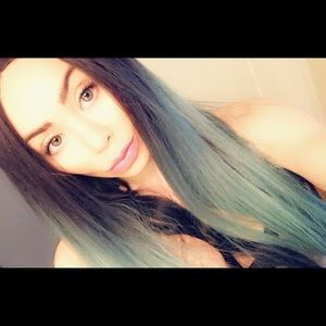 Teal and black lace front wig